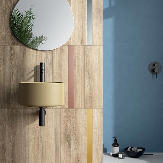 rivestimento parete bagno legno